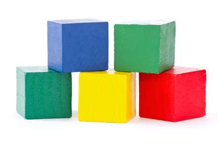 wooden color square bricks  on white background Stock fotó