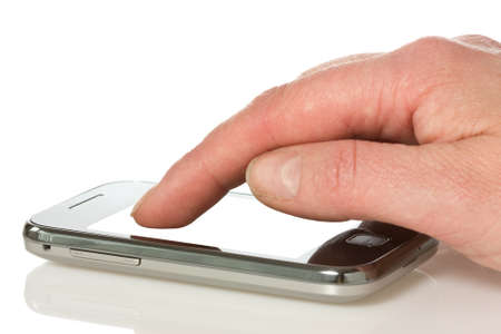 hand with smart phone over a white background  photo