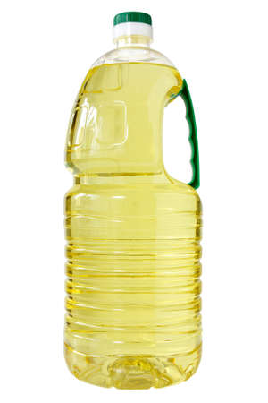 Plastic bottle of cooking oil   Isolated  on white background  photo