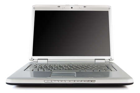 silver laptop  with black screen over a white background Stock Photo - 14198639
