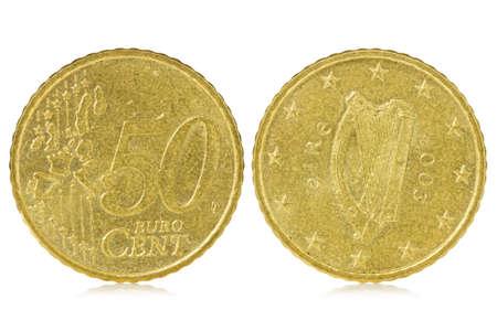 number 50: Fifty euro cent of Ireland, isolated on white background Stock Photo