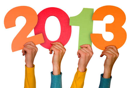 hands with color numbers shows future year 2013 Standard-Bild