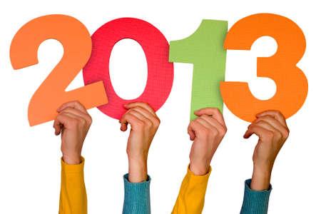 handen met kleurnummers toont toekomst jaar 2013