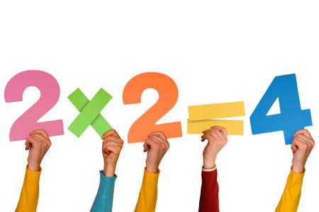 Handen met eenvoudige wiskundige formule. Geà ¯ soleerd op witte achtergrond. Stockfoto