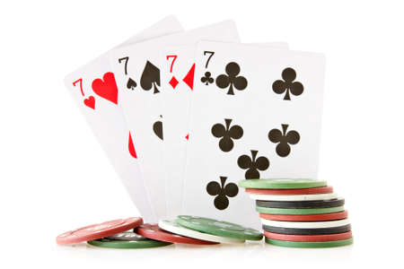 card game: Cards and chips for poker on white background
