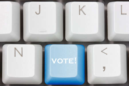 polling: election concept with vote key showing polling or voting