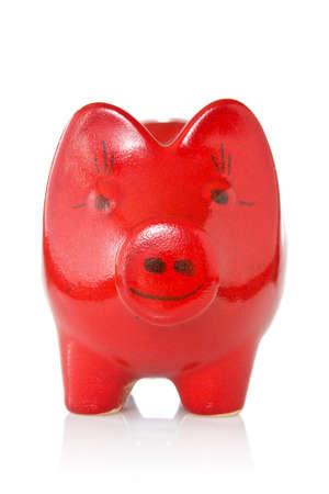 coinbank: rojo hucha aislado sobre fondo blanco