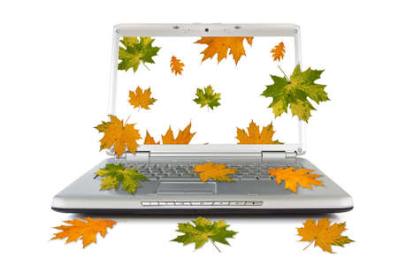 Autumnal leaves falling out of computer. Isolated on white background Stock Photo - 15469290