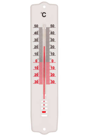 Plastic thermometer isolated on the white background photo