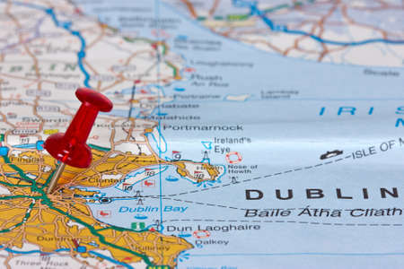 Pushpin pointing location of Dublin on the map photo