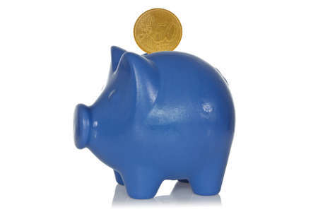 coinbank: Blue piggy bank with fifty eurocents on a white background