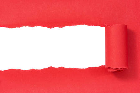 rips: Red paper torn to reveal white panel ideal for copy space Stock Photo