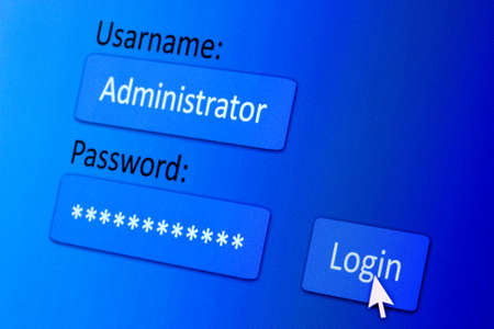 Username and password in internet browser on computer screen Stock Photo - 17807036