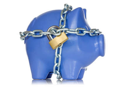 Financial insurance  Piggy bank secured with padlock and chain  photo
