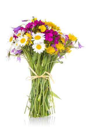 Beautiful bouquet of bright wildflowers on a white background photo