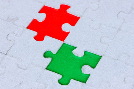 conceptions: Jigsaw puzzle with a green and red gap