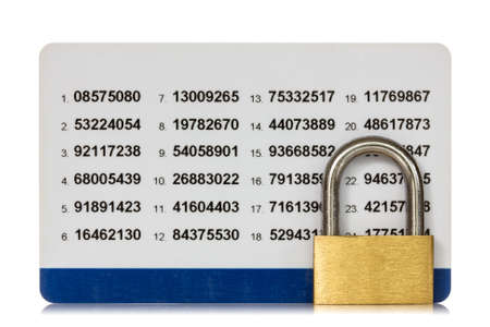 Secure of internet banking. Code card with lock isolated on white background photo