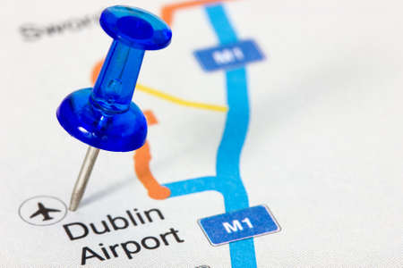 Blue pushpin on the map showing Dublin airport location photo
