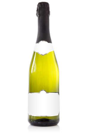 bouteille champagne: Bouteille de champagne avec une étiquette blanche pour votre texte