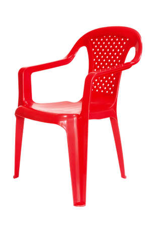 red chair: Red plastic chair isolated on a white background