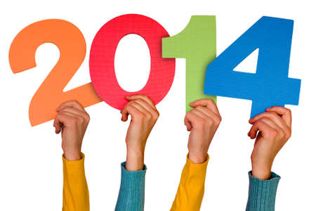Hands with numbers shows year 2014. Isolated on white background Standard-Bild