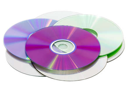 recordable media: Stack of CD & DVD discs, isolated on white background