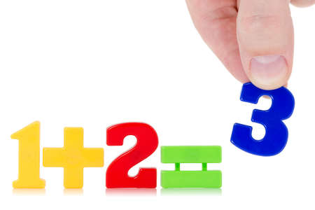 Simple math example with numbers on the white background Stock Photo - 23663638
