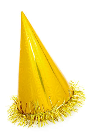Golden party hat cone, isolated on a white background.