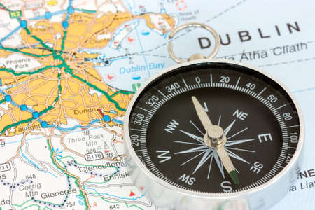 Compass on the map of Republic of Ireland photo