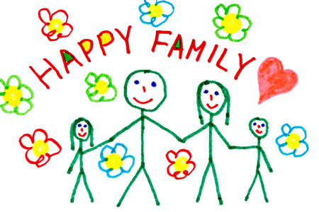 Color drawing of happy family - made by child  Standard-Bild