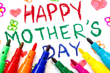 Happy mothers day card made by a child Stock Photo