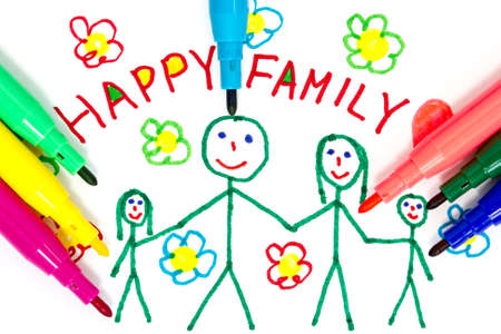 felt tip: Felt tip pens and color drawing of happy family