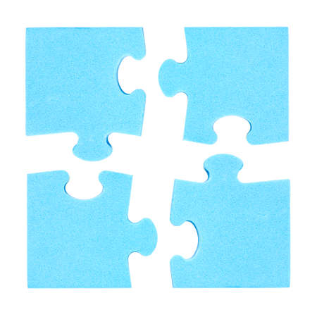 coalition: Four  puzzle pieces combined cooperation concept. Isolated on white