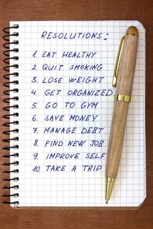 reforming: New Years resolutions listed in the notepad
