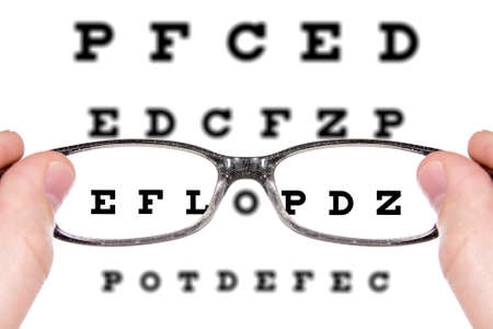 Sight test seen through eye glasses. Isolated on white background photo