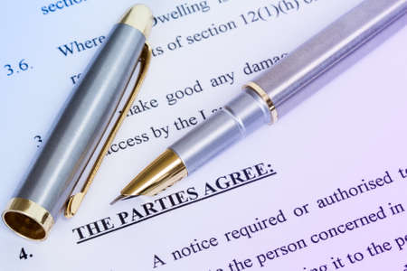 tenant: Metal pen with agreement between landlord and tenant