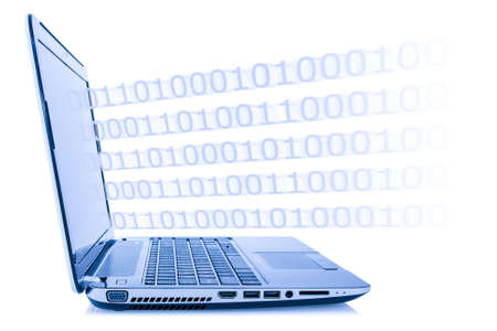 Computer technology concept. Program code coming out from laptop, isolated on white background Stock Photo