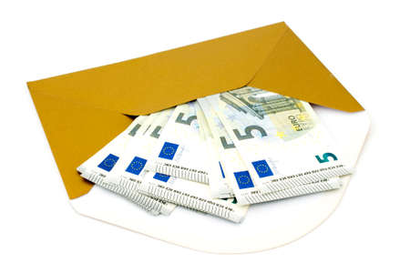 subornation: Corruption concept. Envelope with money, isolated on white background.