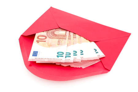 subornation: Corruption concept. Red envelope with money, isolated on white background.