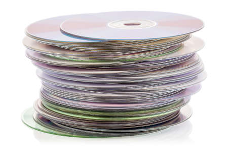 optical disk: CD stack isolated on the white background