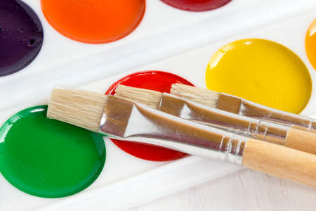 vibrant paintbrush: New unused palette of childrens multicolor watercolor paints with paint brushes