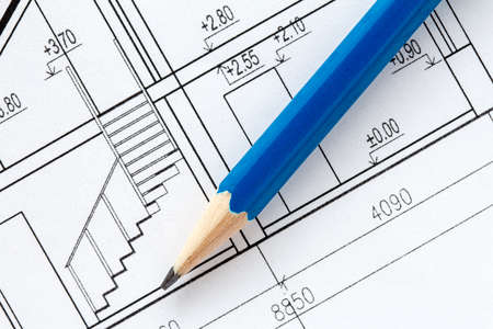 architectural drawing: Engineering and architecture drawings with blue pencil Stock Photo