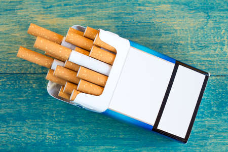 Open pack of cigarettes with the filter