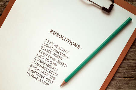 reforming: Clipboard with list of resolutions for new year Stock Photo