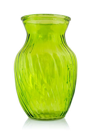 Green glass vase isolated on a white background.