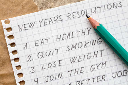 reforming: Pencil and list of resolutions for new year