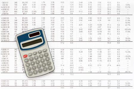 financial statement: Calculator on financial statement , concept of accounts. Stock Photo