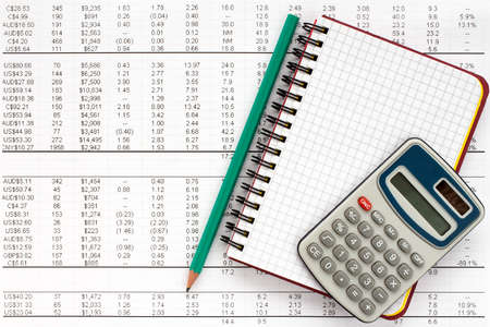 financial statement: Notebook,pencil and calculator on financial statement , concept of accounting.