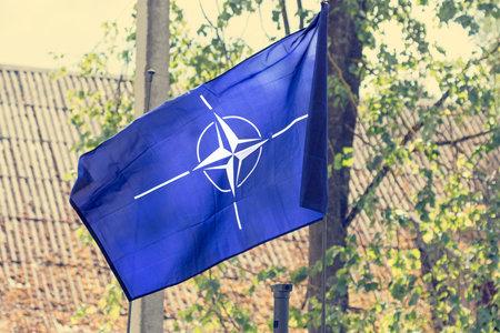 De vlag van de Noord-Atlantische Verdragsorganisatie NAVO