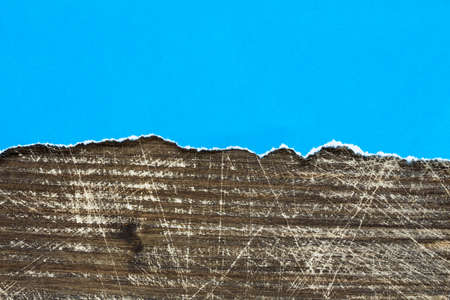pasteboard: Blue paper and wood - perfect background with copy-space Stock Photo